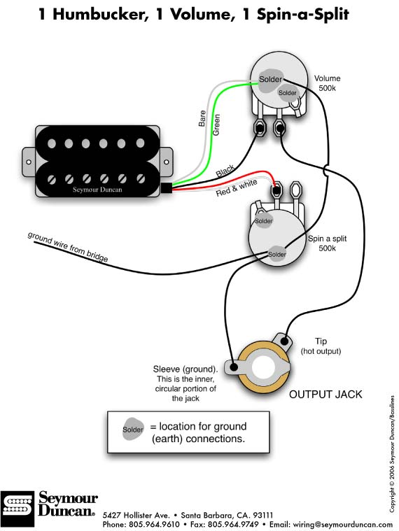 Seymour Duncan Humbucker Wiring Diagram from artistrelations.com